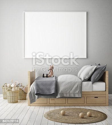 istock mock up poster frames in children bedroom, Scandinavian style interior background, 3D render 842429114