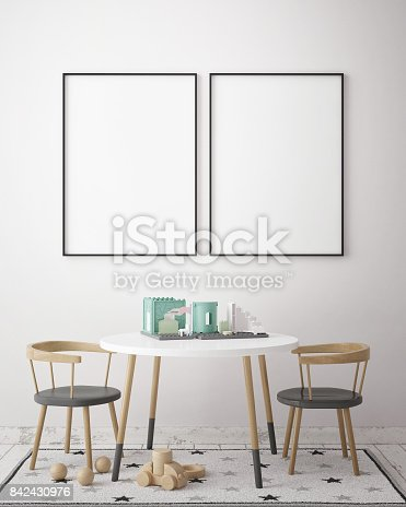 istock mock up poster frames in children bedroom, Scandinavian style interior background, 3D render 842430976