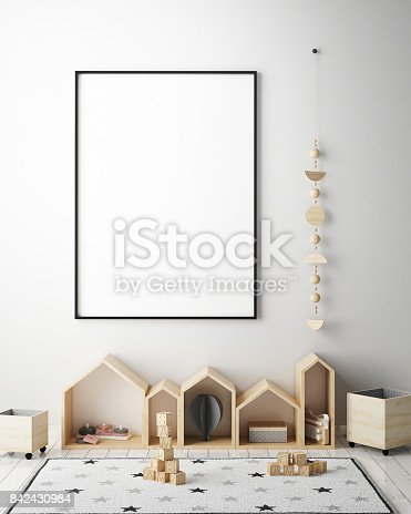 istock mock up poster frames in children bedroom, Scandinavian style interior background, 3D render 842430984