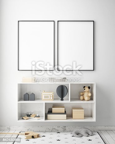 istock mock up poster frames in children bedroom, Scandinavian style interior background, 3D render 842430988