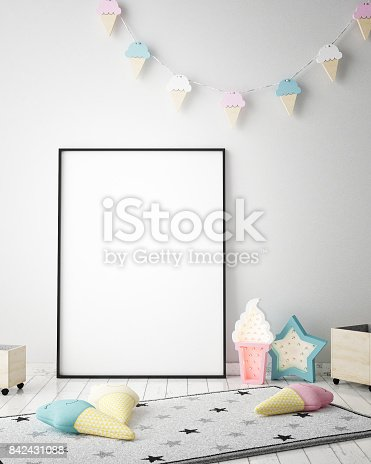 1205865899 istock photo mock up poster frames in children bedroom, Scandinavian style interior background, 3D render 842431088