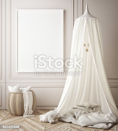istock mock up poster frames in children bedroom, Scandinavian style interior background, 3D render 842431548
