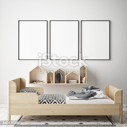 istock mock up poster frames in children bedroom, Scandinavian style interior background, 3D render 842434090
