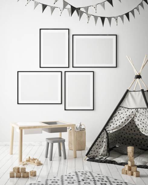 mock-up plakatrahmen in kinder schlafzimmer, skandinavischen stil innen hintergrund, 3d rendern - tafel schlafzimmer stock-fotos und bilder