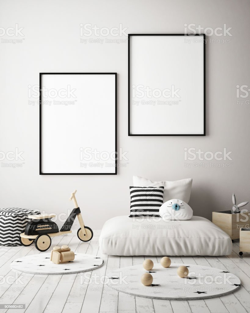Mock Up Poster Frames In Children Bedroom Scandinavian Style ...