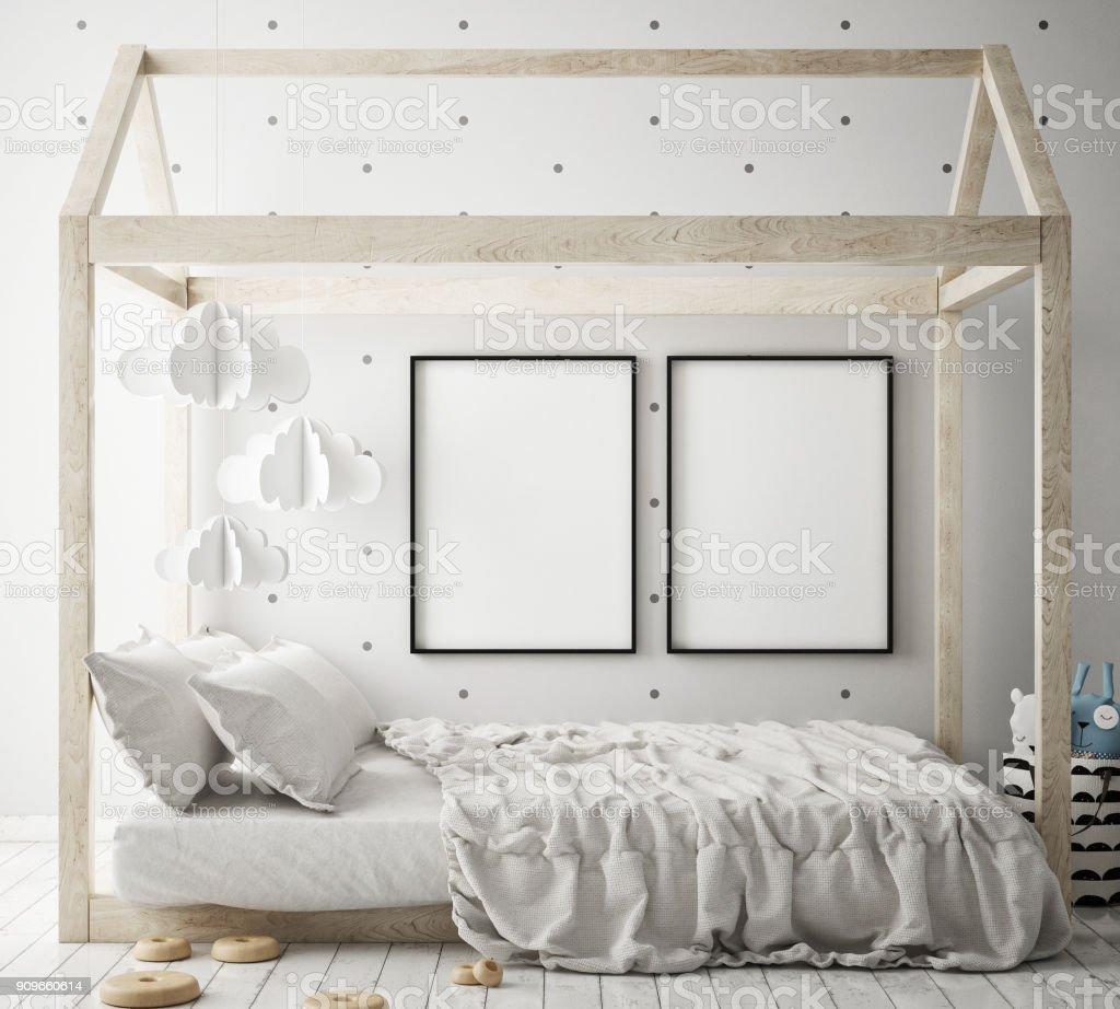 Mockup Plakatrahmen In Kinder Schlafzimmer Skandinavischen Stil ...
