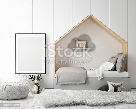 istock mock up poster frames in children bedroom, Scandinavian style interior background, 3D render 930239428