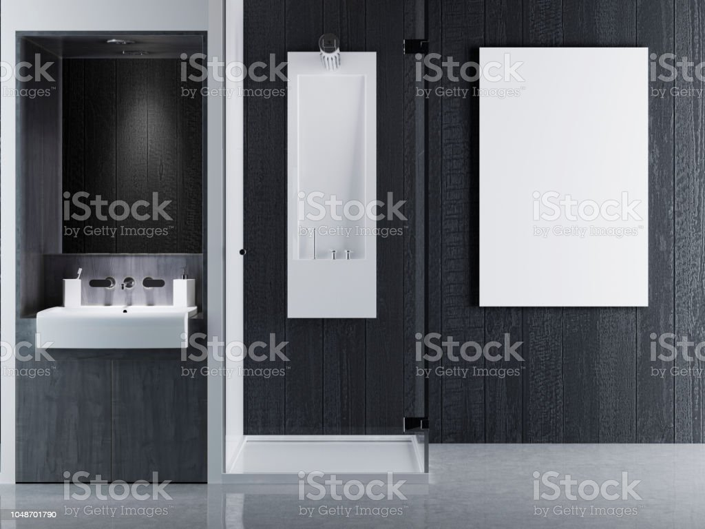 Mock Up Poster Frames In Interior Bathroom Contemporary