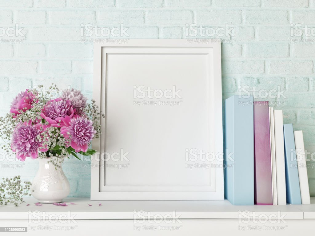 Mock Up Poster Hipster Background Flowers And Books Stock Photo