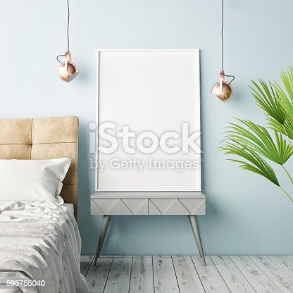 istock Mock up poster, hipster bedroom 595755040