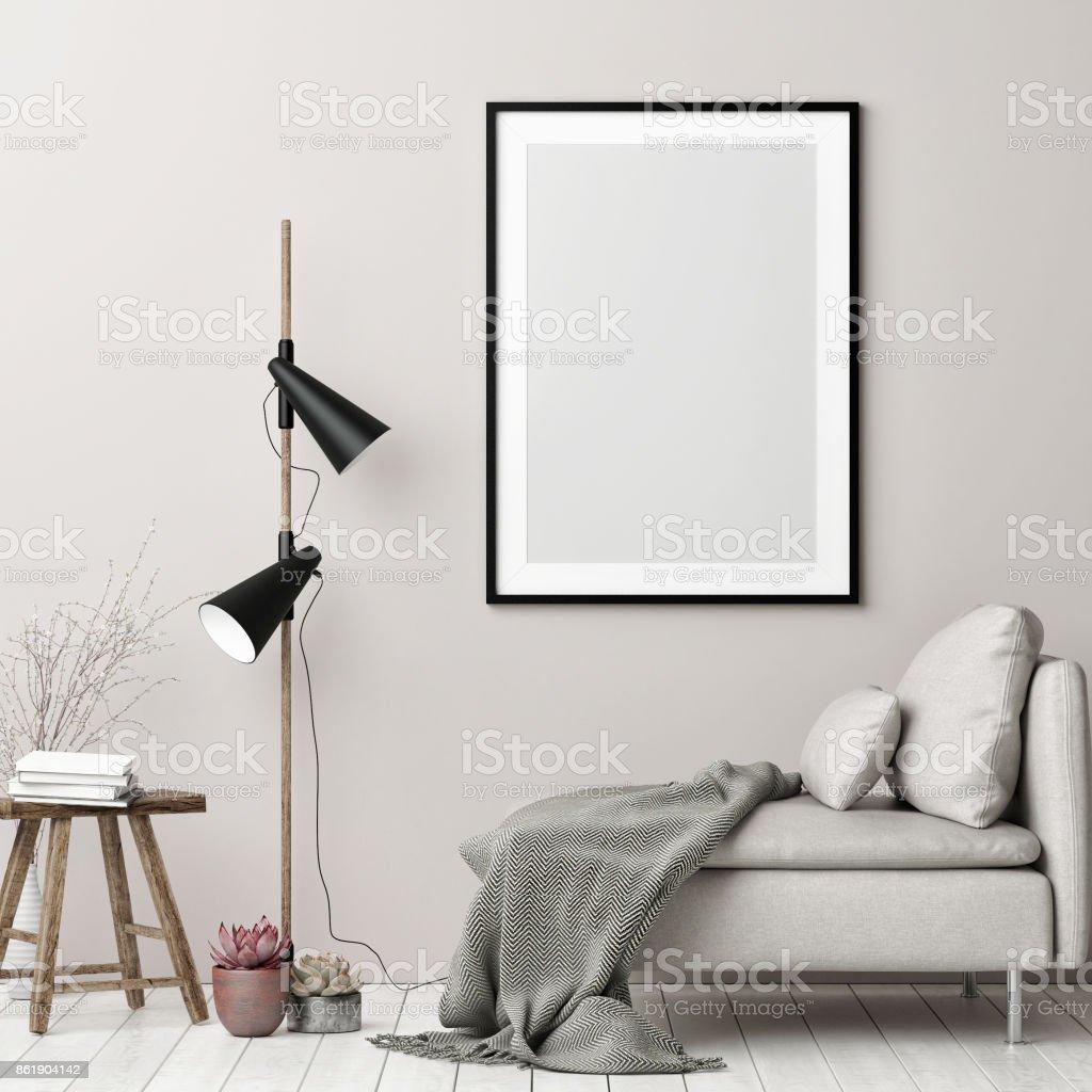 Mock-up-Poster, Hipster Innenraum Hintergrund im nordischen Stil – Foto