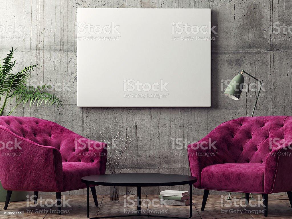 Mock up poster, hipster living room