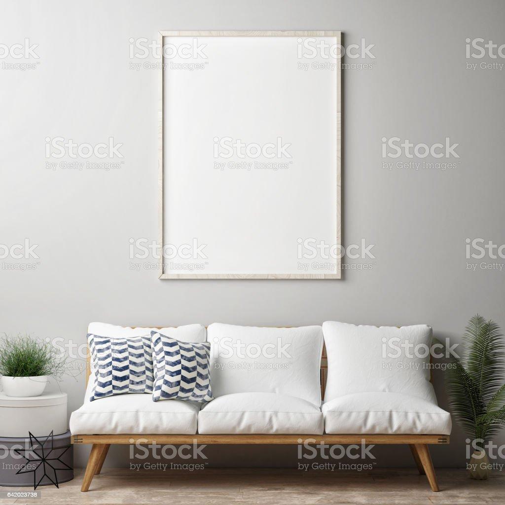 Modello in un manifesto, slip a vita bassa soggiorno - foto stock