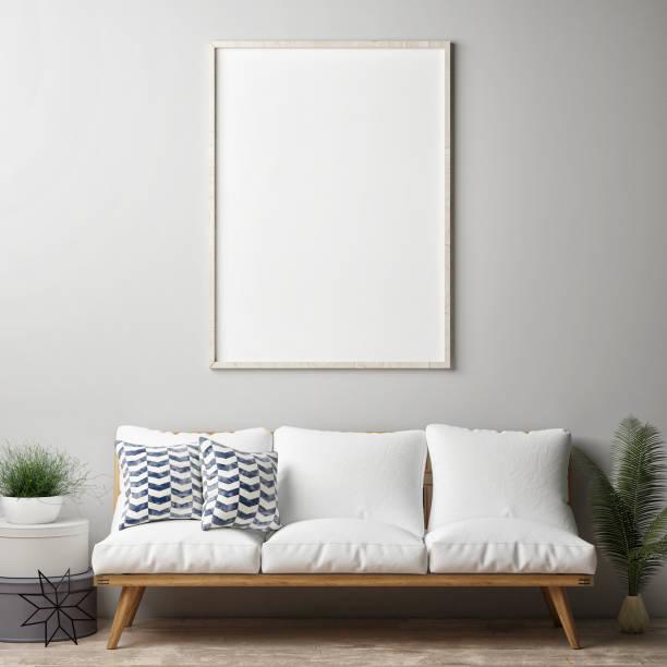 mock-up poster, hipster-wohnzimmer - bilder poster stock-fotos und bilder