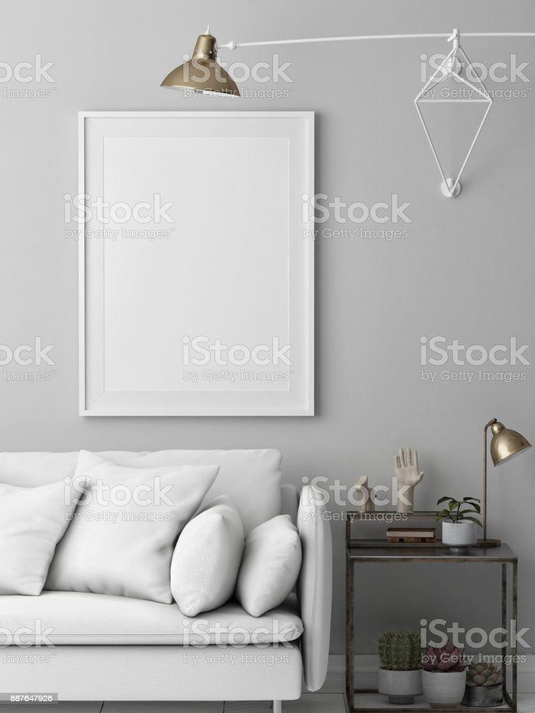 Mock-up-Poster, Hipster weiße Loft mit modernen Möbeln – Foto