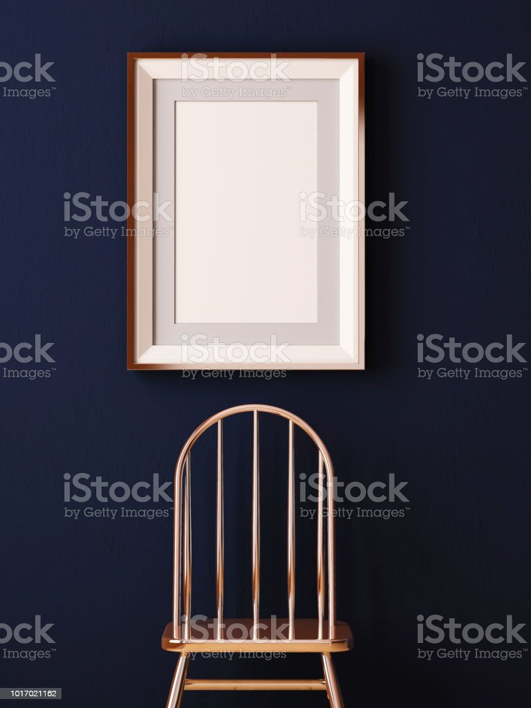 mock up poster in a frame on a chair. Hipster style. Art Deco. 3d...