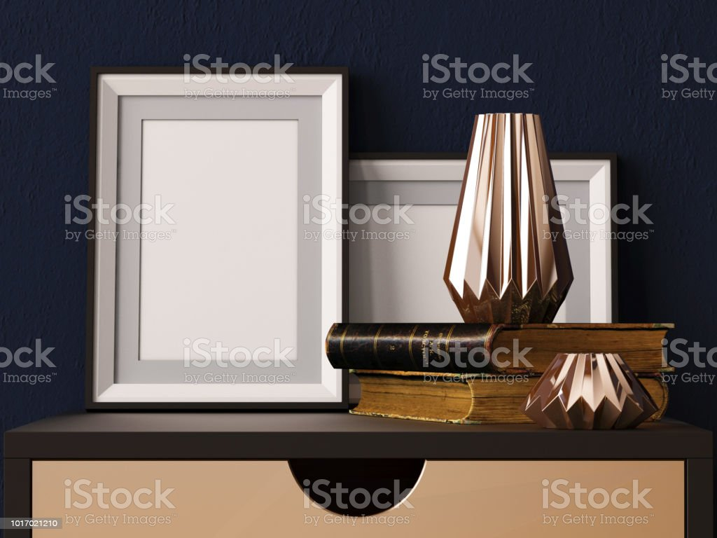 mock up poster in a frame on a chair. Hipster style. Art Deco. 3d illustration. stock photo