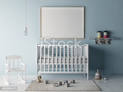 istock Mock up poster in baby room 600990420