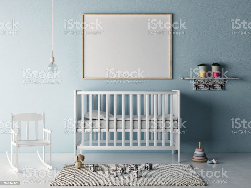 Mock up poster in baby room stock photo