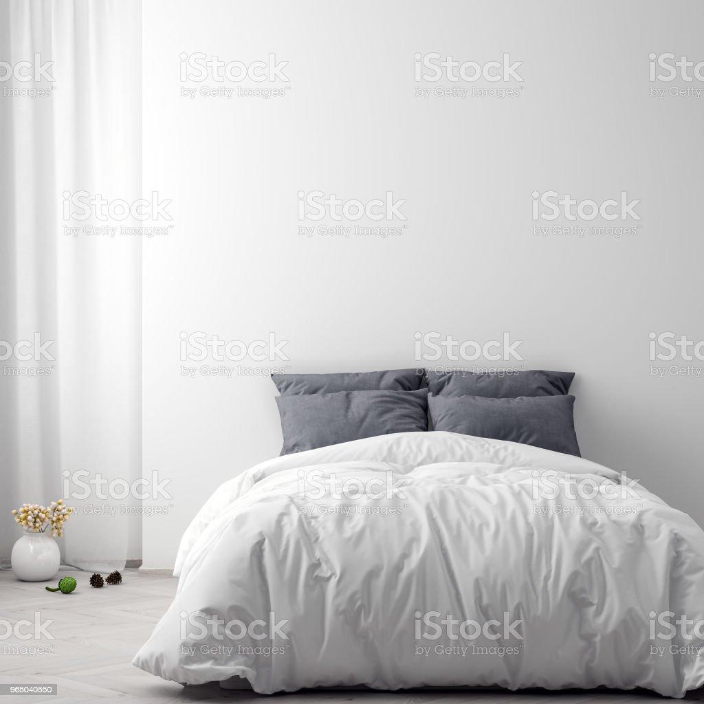 Mock up poster in bedroom interior background, 3D illustration zbiór zdjęć royalty-free