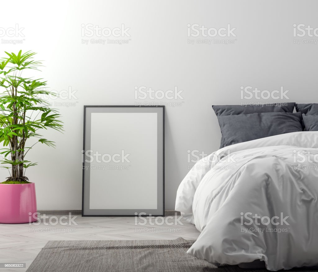 Mock up poster in bedroom interior background, 3D illustration royalty-free stock photo