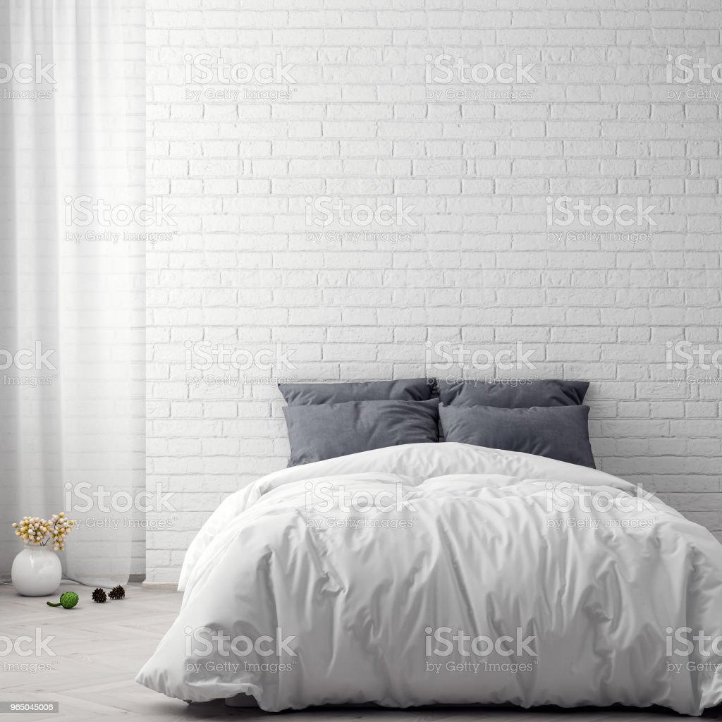Mock up poster in bedroom interior background and brick wall, 3D illustration royalty-free stock photo