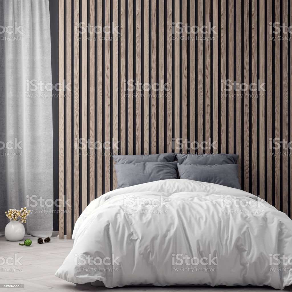 Mock up poster in bedroom interior background with wood wall planks, 3D illustration royalty-free stock photo