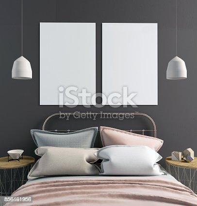 istock Mock up poster in bedroom interior. Bedroom Scandinavian style. 3d illustration 856461956