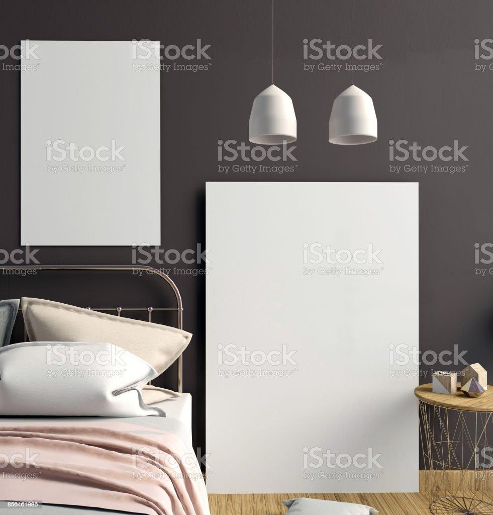 Mock up poster in bedroom interior. Bedroom Scandinavian style. 3d illustration stock photo