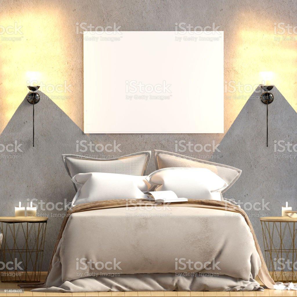 Maquette Affiche à Lu0027intérieur De La Chambre à Coucher. Style Scandinave De  Chambre