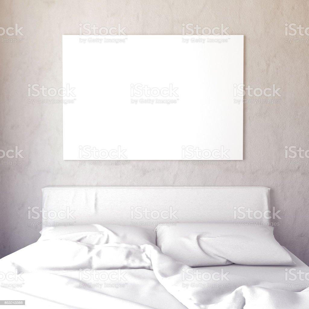 Mock up poster in bedroom interior. Bedroom Scandinavian style. 3d illustrationMock up poster in bedroom interior. Bedroom hipster style. 3d illustration stock photo