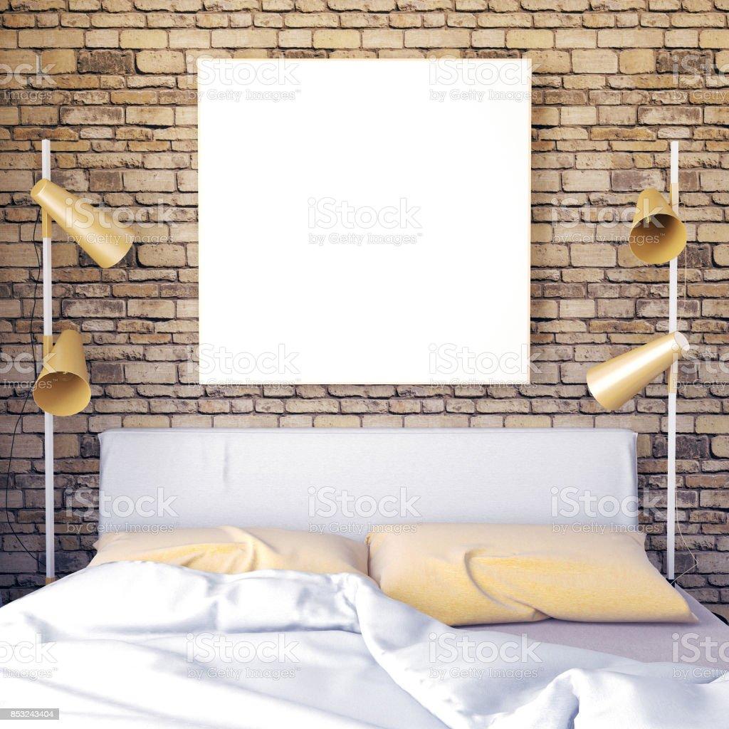 Mockup Plakat Im Schlafzimmer Inneren Schlafzimmer Skandinavischen