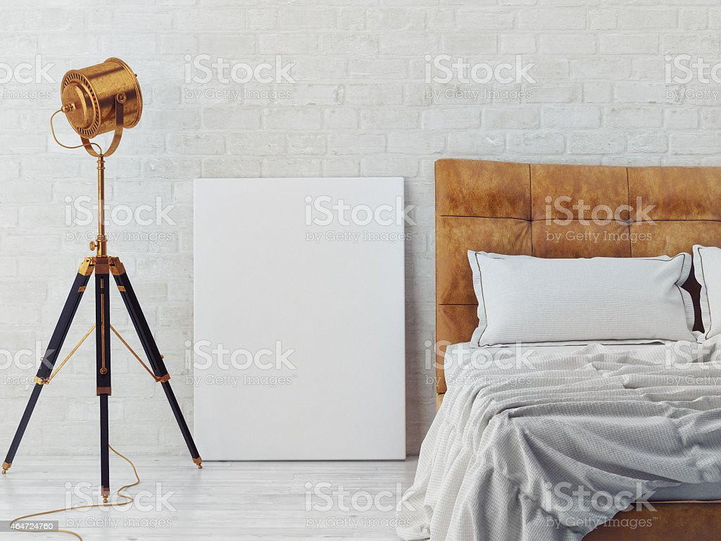 mock up poster in bedroom