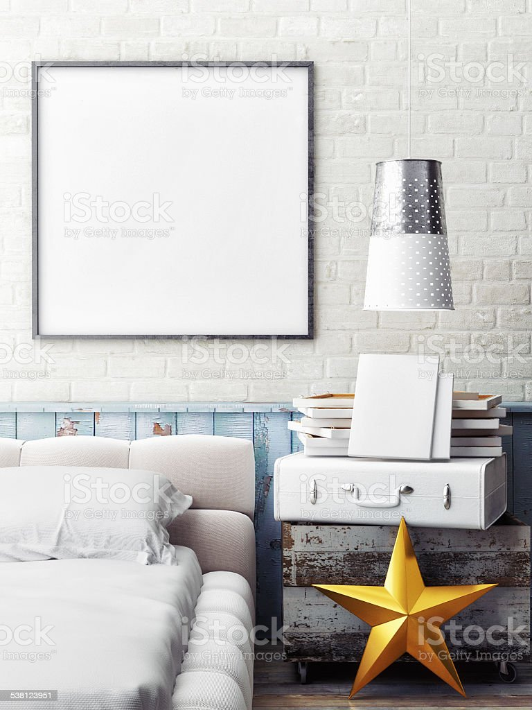 mock up poster in bedroom stock photo