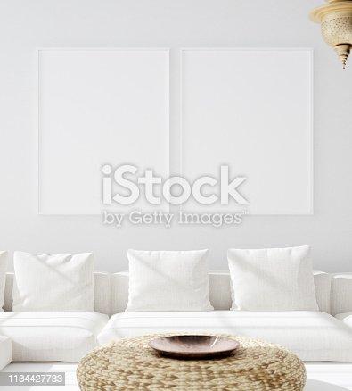 1027116110 istock photo Mock up poster in bohemian living room, Scandi–Boho style 1134427733
