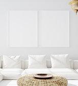 Mock up poster in bohemian living room, Scandi–Boho style, 3d render