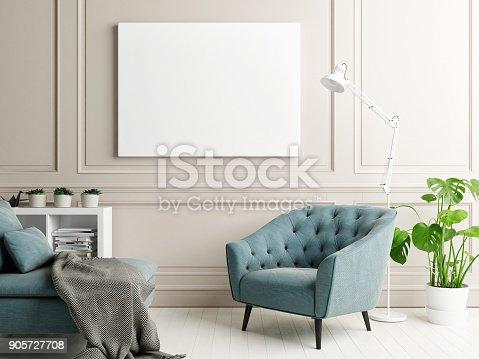 istock Mock up poster in classic interior design 905727708