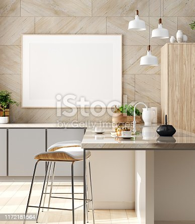 Mock up poster in cozy kitchen interior, Scandinavian style, 3d render