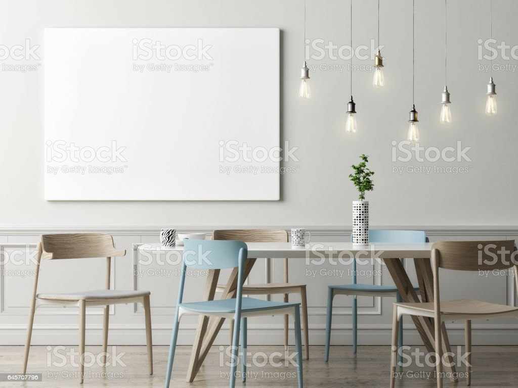 Mock up poster in dining room, hipster background stock photo