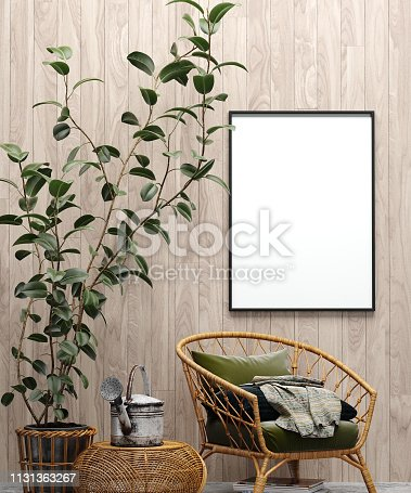 Mock up poster in garden interior background with chair, wooden wall and plants, 3d render