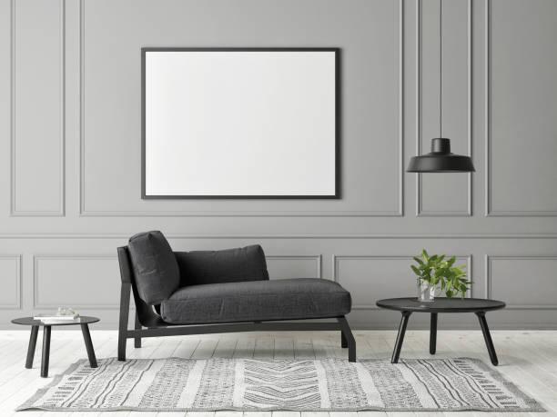 Mock-up-Plakat in grauen Wohnzimmer Minimalismus Design – Foto