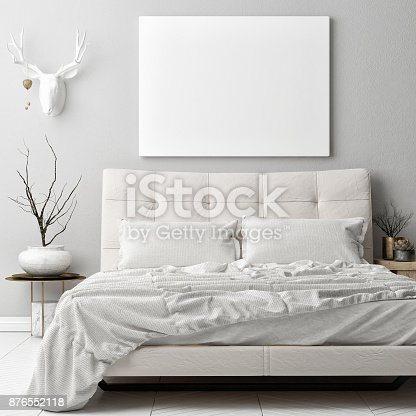 istock Mock up poster in hipster bad room , deer horns decoration on the wall 876552118