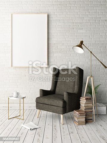 istock Mock up poster in hipster interior background 588369892