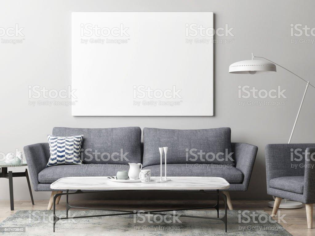 Mock Up Poster In Hipster Wohnzimmer Hintergrund Lizenzfreies Stock Foto