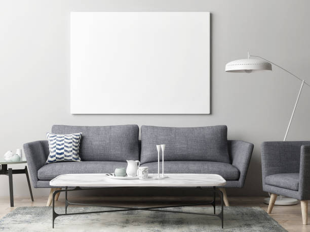 Mock up poster in hipster living room background stock photo