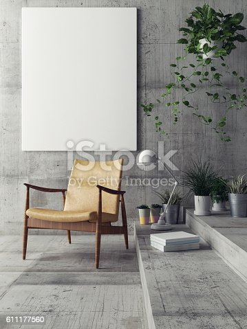 istock Mock up poster in hipster living room 611177560