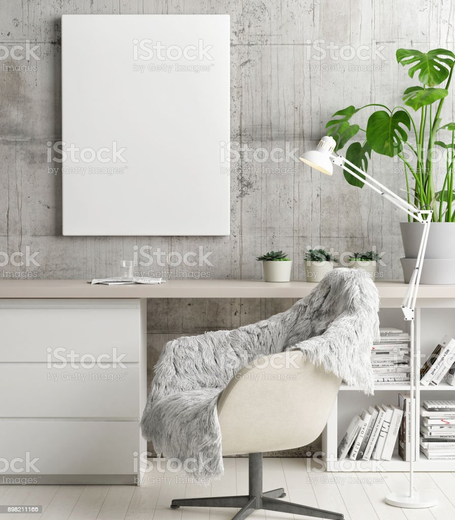 Mock up poster in hipster's office, concept interior design stock photo