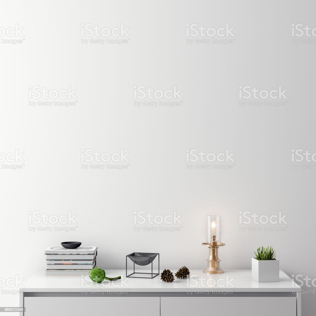 Mock up poster in interior background, 3D illustration zbiór zdjęć royalty-free