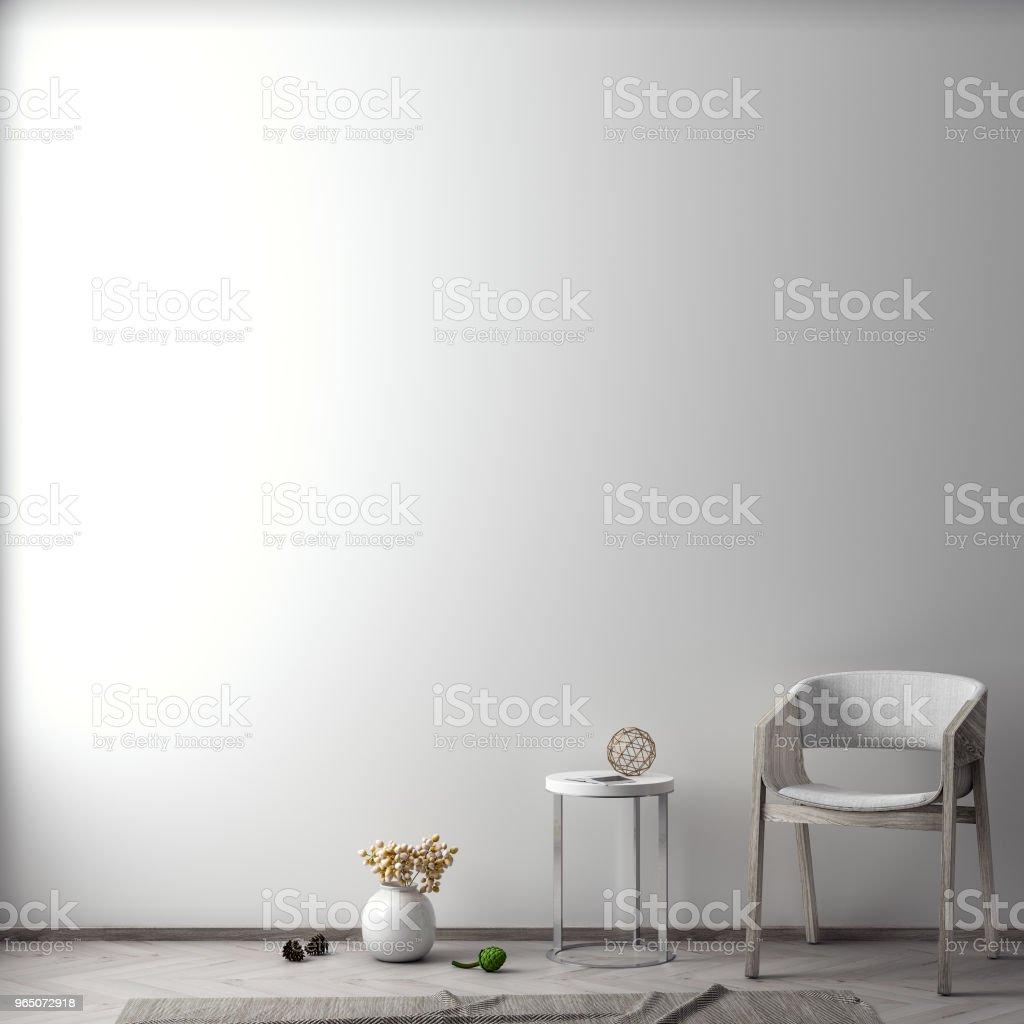 Mock up poster in interior background, 3D illustration zbiór zdjęć royalty-free