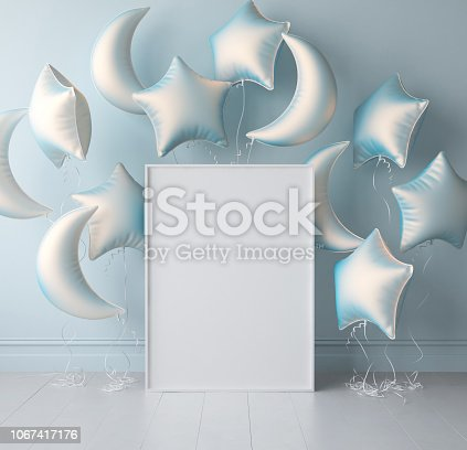 istock Mock up poster in interior background with pastel balloons 1067417176